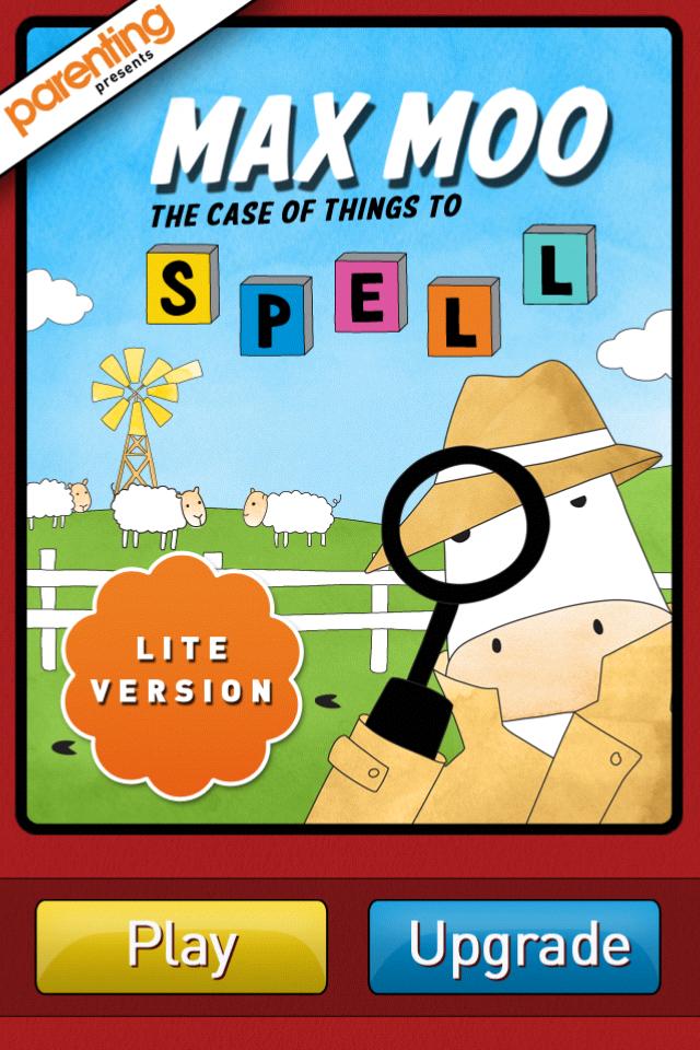 Screenshot Parenting's Max Moo Spelling LITE